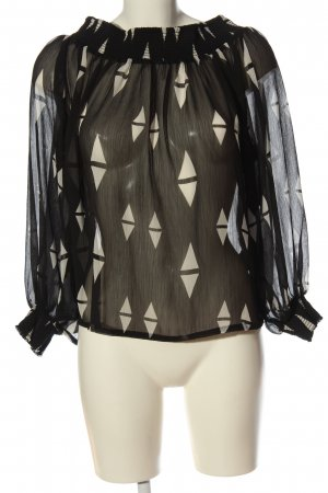 H&M Transparenz-Bluse schwarz-weiß abstraktes Muster Elegant