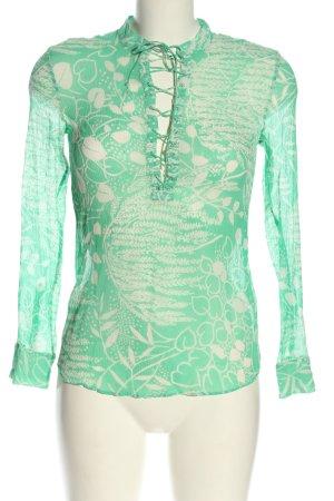 H&M Transparenz-Bluse grün-wollweiß Allover-Druck Casual-Look