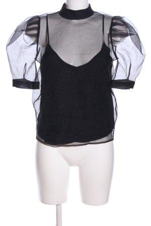 H&M Transparenz-Bluse schwarz Elegant