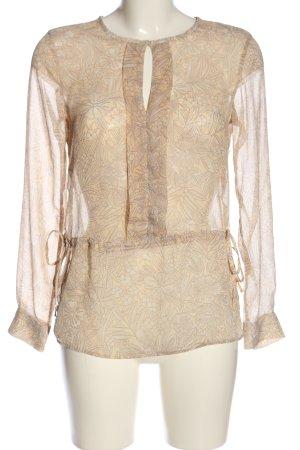 H&M Transparenz-Bluse creme-braun Allover-Druck Elegant