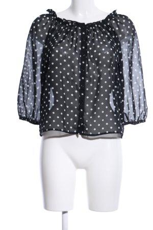 H&M Transparenz-Bluse schwarz-weiß Punktemuster Casual-Look