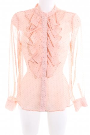 H&M Transparenz-Bluse pink-schwarz Punktemuster Casual-Look