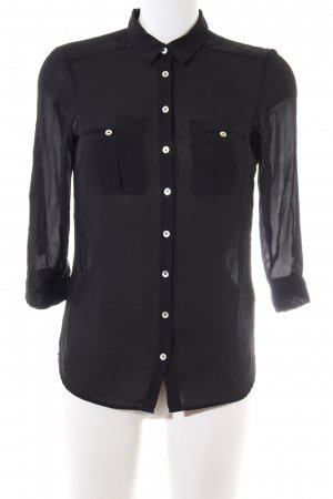 H&M Transparenz-Bluse schwarz Business-Look