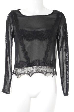 H&M Transparenz-Bluse schwarz Party-Look