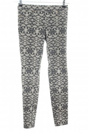 H&M Treggings schwarz-creme Allover-Druck Casual-Look