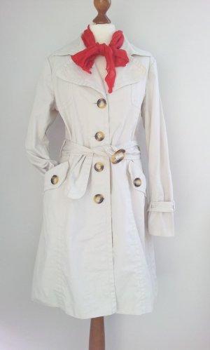 H&M Trenchcoat / Regenmantel in 40/42, Creme /Beige, Details in Horn / Schildpatt-Look