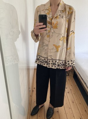 H&M Trend Bluse Tunika Hemd Pyjama Muster beige schwarz Blumen Floral