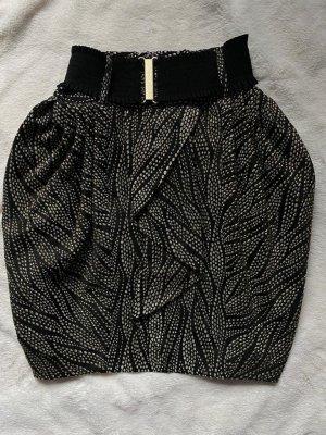 H&M Ballonrok zwart-goud Polyester