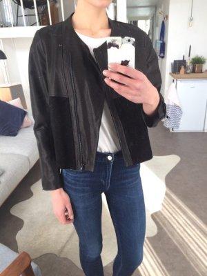 H&M Trend Clean Chic Echtlederjacke  Blogger Cosy Biker Cropped Gr. 38
