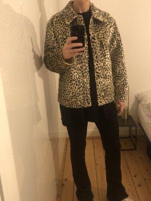 H&M Trend Jacke Blazer Leopard Animalprint Fake Fur Fell Gr. 38 NEU