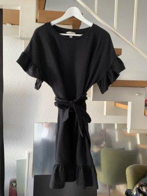 H&M Trend Kleid mit Volants & Bindegürtel schwarz