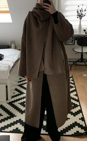 H&M Płaszcz oversize szaro-brązowy Wełna