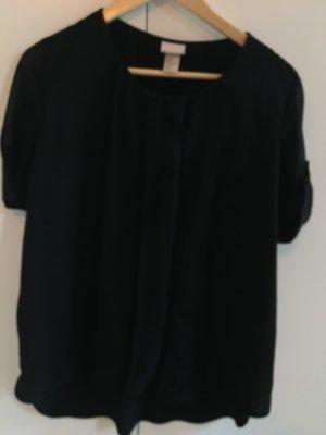 H&M Trend Oversized Bluse, schwarz, mit transparenten Details
