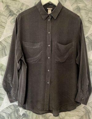 H&M Trend Silk Blouse anthracite silk