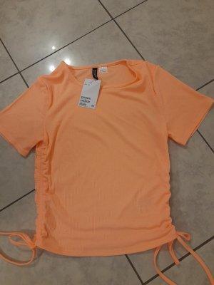 H&M Divided Chemise côtelée abricot lycra