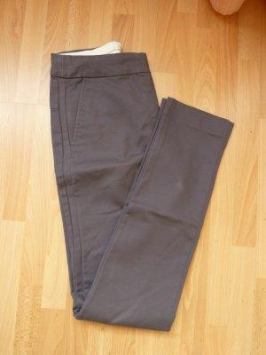 H&M Tuchhose Gr 36 34 S grau anthrazit elegant Galonstreifen Stretch Slacks Skinny Röhre Zigarettenhose dunkelgrau