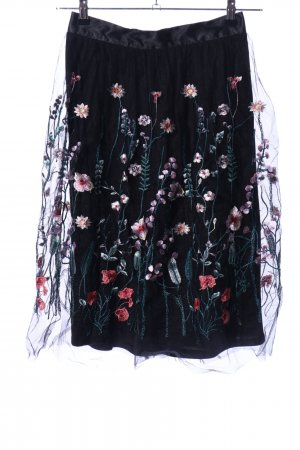 H&M Tüllrock schwarz Blumenmuster Elegant