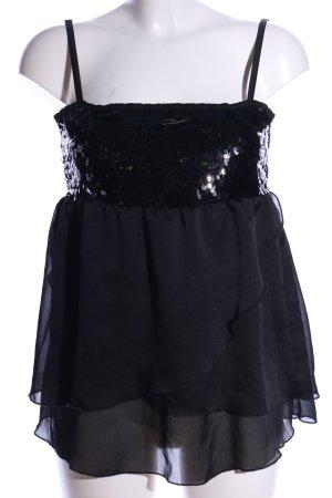 H&M Tunika schwarz Glanz-Optik