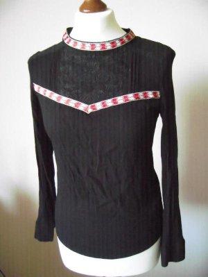 H&M Tunika-Bluse in S (36/38), Schwarz / Rot / Weiß, Blumen-Stickerei, Inka / Aztek, NEU