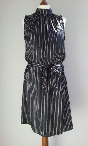 H&M Tunika-Kleid in 42 (38), Schwarz / Weiß, Satin & Raffungen