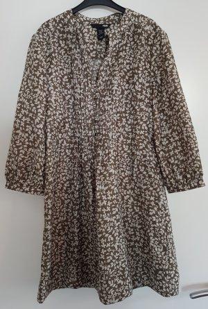 H&M Tunika-Kleid mit Blumenmuster, graubraun/wollweiß, Größe 36