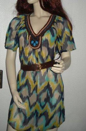 H&M Tunika Long Shirt Bluse Kleid Perlen braun türkis ocker 34 36 38 XS S M Neu