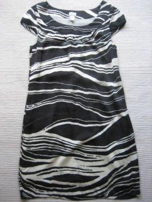 H&M tunika satinkleid schwarz weiss neu gr. xxs 32 zebra