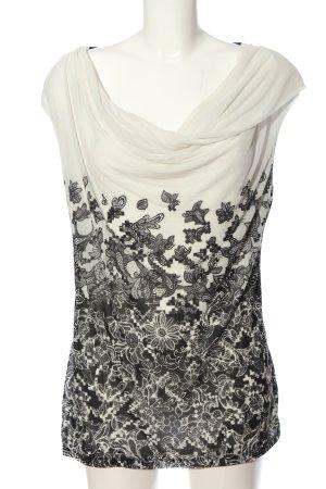 H&M Tunikabluse weiß-schwarz Blumenmuster Business-Look