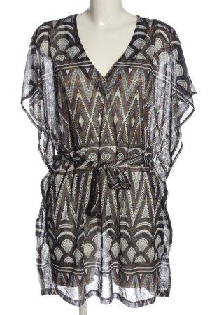H&M Tunikabluse braun-weiß Allover-Druck Casual-Look