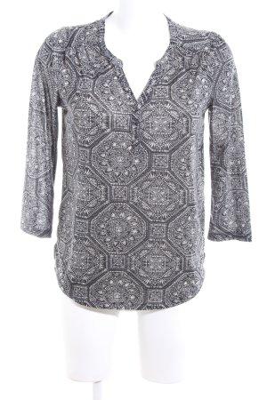 H&M Tunikabluse hellgrau-weiß abstraktes Muster Casual-Look