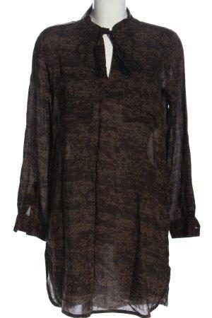 H&M Tunikakleid schwarz-braun Allover-Druck Casual-Look