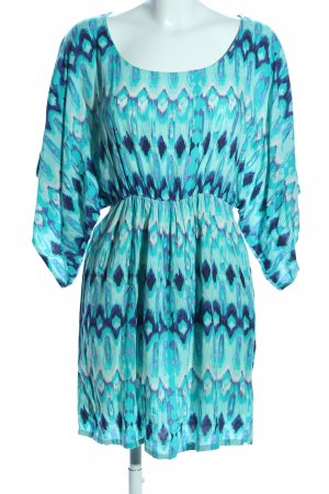 H&M Tunikakleid türkis-blau abstraktes Muster Casual-Look