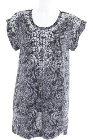 H&M Tunikakleid schwarz-grau Stickereiverzierung