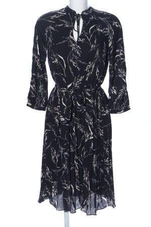 H&M Robe tunique noir-blanc motif de fleur style d'affaires