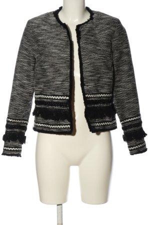 H&M Blazer Tweed negro-blanco Patrón de tejido look casual