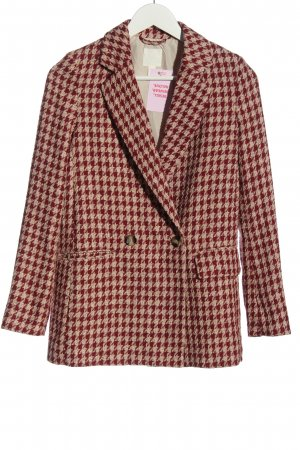 H&M Tweed Blazer red-natural white allover print business style