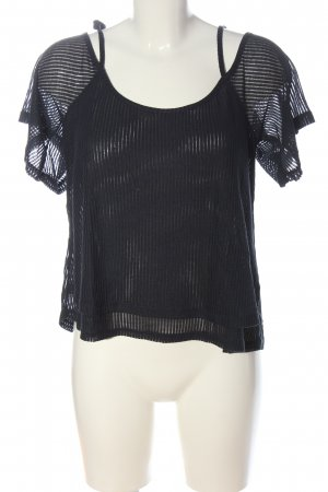 H&M Ribbed Shirt black striped pattern casual look