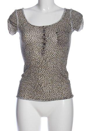 H&M U-Boot-Shirt khaki-hellgrau grafisches Muster Casual-Look