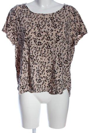 H&M U-Boot-Shirt creme-schwarz Allover-Druck Casual-Look