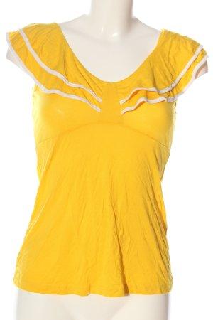 H&M Koszulka z dekoltem w łódkę bladożółty-biały W stylu casual