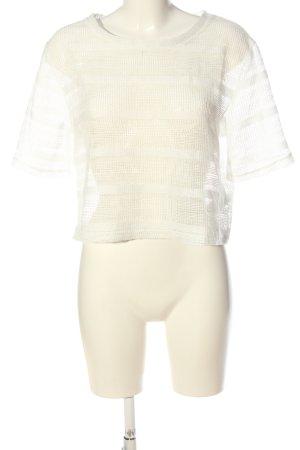 H&M Kurzarm-Bluse weiß Streifenmuster Party-Look