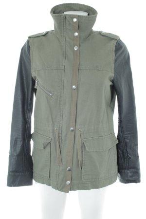 H&M Übergangsjacke schwarz-grüngrau Military-Look