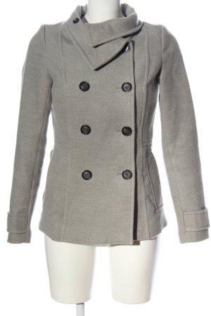 H&M Between-Seasons-Coat light grey flecked casual look
