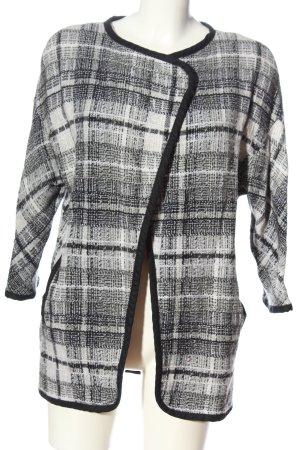 H&M Płaszcz przejściowy biały-czarny Wzór w kratkę W stylu casual