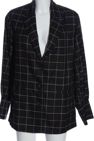 H&M Long-Blazer schwarz-wollweiß Karomuster Business-Look