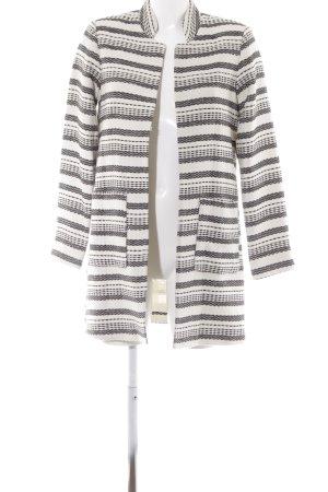 H&M Übergangsmantel schwarz-wollweiß Streifenmuster Casual-Look