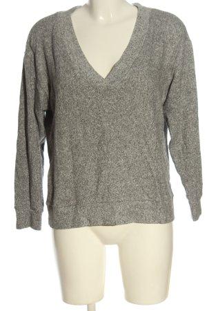 H&M V-Ausschnitt-Pullover khaki-hellgrau meliert Casual-Look