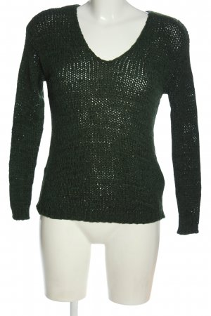 H&M V-Ausschnitt-Pullover grün Zopfmuster Casual-Look