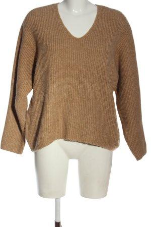H&M V-Ausschnitt-Pullover braun meliert Casual-Look