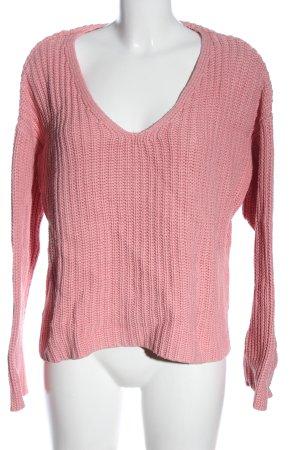 H&M Sweter z dekoltem w kształcie litery V różowy Warkoczowy wzór
